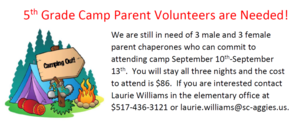 5th Grade Camp Parent Volunteers Needed