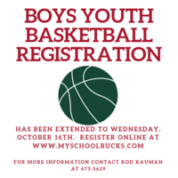 Boys Youth Basketball Registration has been extended.