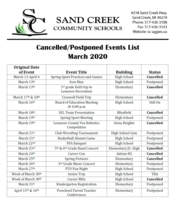 Cancelled/Postponed Events List